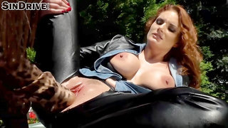 Red Haired Beauty Is Fisting Her Horny Girlfriend In The Backyard, To Make Her Cum