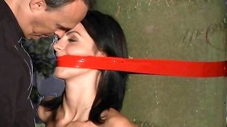 Tightly bound brunette slave teen fucked rough by her captor