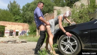 Blonde Bimbo Hitch Hiker Loves His Piss