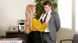 Horny busty blonde secretary Casca Akashova loves fucking mad on the table