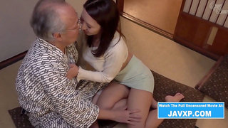 Beautiful Japanese MILF Fucks Grandpa