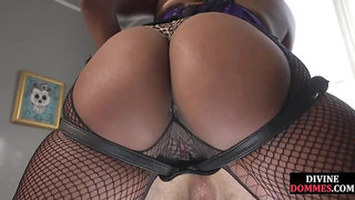 DIVINE BITCHES - Black femdom pegging sub before cockriding him