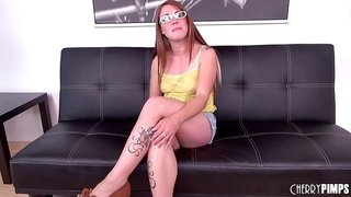 Freckled chick Scarlett Wild wears her glasses for a fuck scene