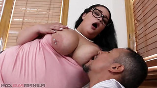 Anything for an Education - obese bitch with big natural tits Nirvana Lust gets cum on face