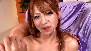 Ruru Kashiwagi Gives An Asian Blow Job For Group Bukkake