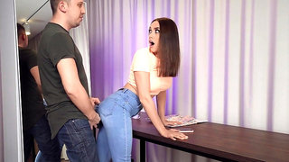 Russian slut Luxury Girl gets fucked through the hole in her jeans