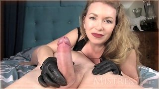 sexy milf mistress plays with her slave