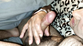 My wife blows and wanks my uncut cock and I cum in her mouth
