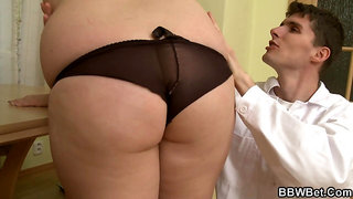 Busty fat ass blonde riding doctor's big cock