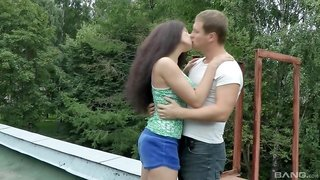 Brunette teen girlfriend Angel Dickens pounded doggy and missionary
