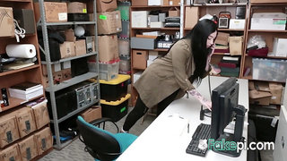 Sexy tattooed shoplifter with bouncy tits gets hard fucked on the desk by the rough security officer
