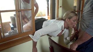 Blonde MILF Jody West Stuck in the window again - threesome hardcore with cumshot