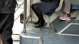 Chinese Office Lady heelpop shoeplay on the bus