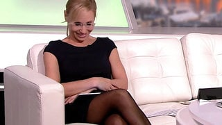 Long legged tv host in black pantyhose and heels 9