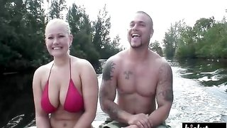 Young big titty babe has fun with a fat dick on a boat ride