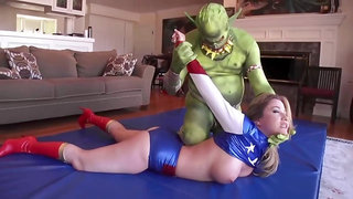 Horny babe was wearing a super hero costume while having sex with a guy dressed as monster