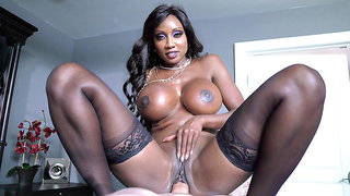 Round breasted ebony MILF Diamond Jackson rides him cowgirl style