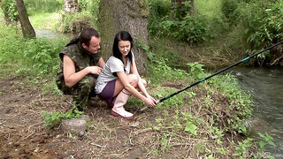 Wild outdoors fucking in the forest with clothed cutie Angelica Skies