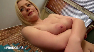 Blue- eyed blonde milf in stockings, Marion wanted to have anal sex with her married neighbor