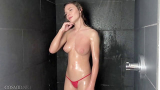 Shower scene with the beautiful Alice and her wet body