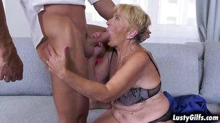Lusty grandma sucking landlords cock