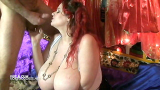 Huge tits bitch gets fisted and cum in mouth