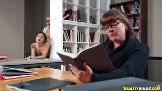Sex-hungry strangers throw a doggy fuck in the library