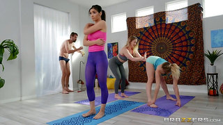 Full hardcore with three anal sluts during a yoga lesson