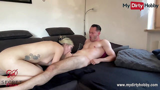 MyDirtyHobby- Sexy blonde gets a huge cumshot on her glasses