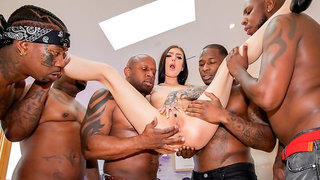 Marley Brinx Interracial Gangbang