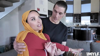 Muslim Arab in hijab Anissa Kate grabbing the trainers cock - exotic tits