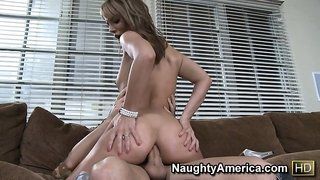 Hannah West takes his big bulging boner deep in her sweet derriere