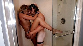 Brutal Big Cock Shower Domination