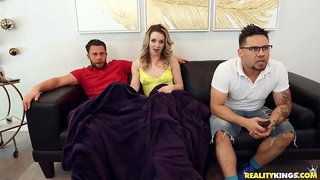 Blondie gets an anal orgasm when cheating on her lad