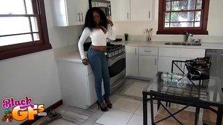 Ebony sweetie Honey Droppz pleases a friend by screwing with him