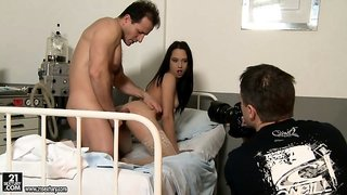 Watch loose porn model Alesya dressed as nurse and getting fucked in backstage vid