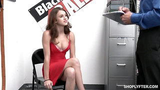 Sexy guilty babe Ellie Eilish gets rid of red dress to be fucked by cop