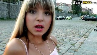 Russian hottie goes for public fuck in Prague