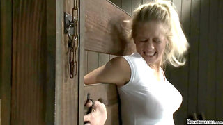 Big tits blonde is fixed in wall stock - Holly heart