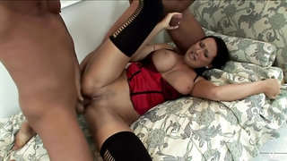 Big titted brunette milf is getting hammered, by two horny guys at the same time