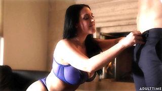 Talkative quite buxom MILF Abigail Mac flashes her boobies in sexy bra