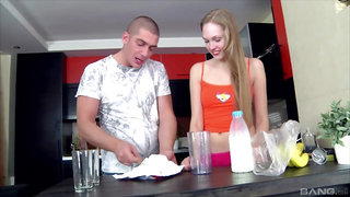 Long legged blonde teen Sylvia O pounded in the kitchen wearing socks