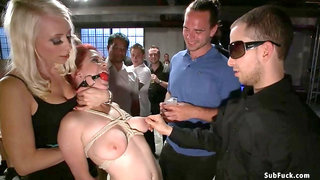 Blindfolded whore anal sex nailed in public