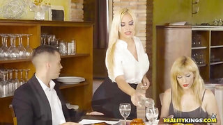 Busty waitress fucked client in the toilet