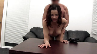 Skinny tattooed amateur fucked missionary by a casting agent