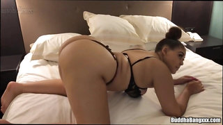 A curvy young tart with big breasts makes a big cock explode
