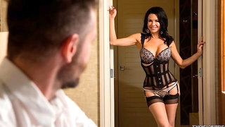 Busty doll in a tight black corset Veronica Avluv fucked for money