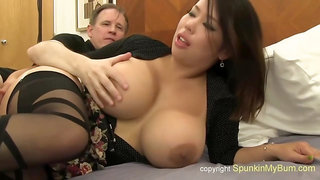 Busty, Asian Brunette With A Perfectly Shaved Pussy Is Getting Assfucked And Expecting A Creampie
