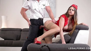 Horny pilot ass fucks top-heavy stewardess Cathy Heaven in hotel room GP663
