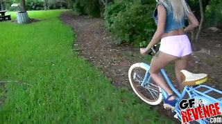 Tight blonde Marsha May needs cum in her mouth after a bike ride